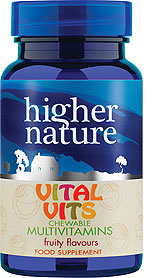 Kids Vital Vits 90 multivitamiinid Higher Nature, 90 närimistabletti