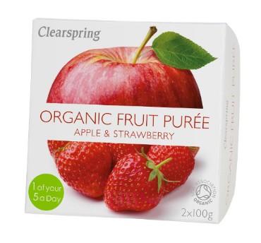 Õuna-maasikapüree Clearspring, 2x100g