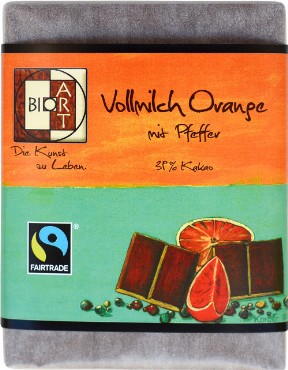 Piimashokolaad apelsini-pipra BioArt, 70g
